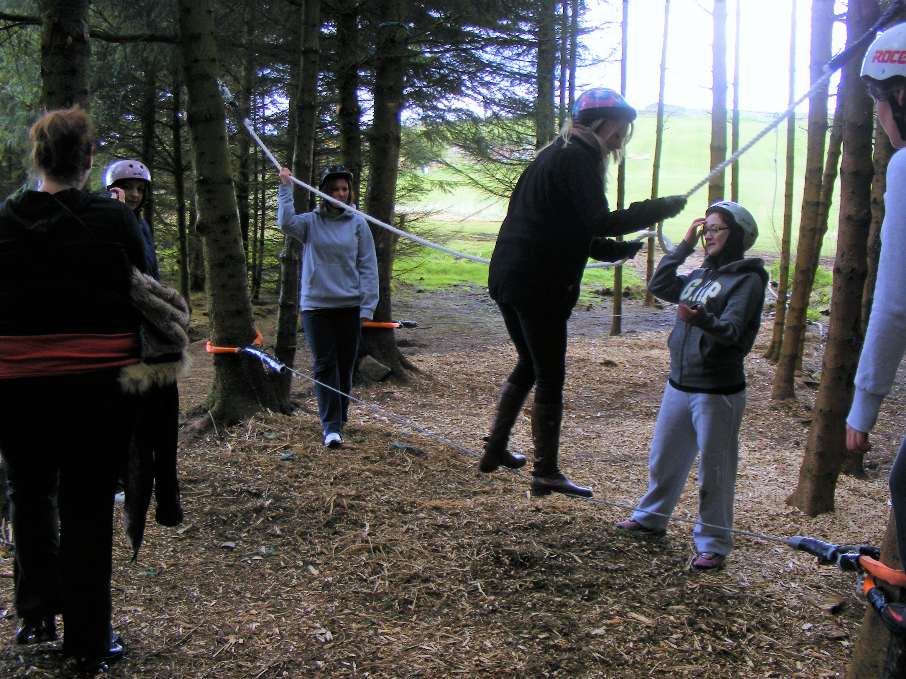 Group doing low ropes