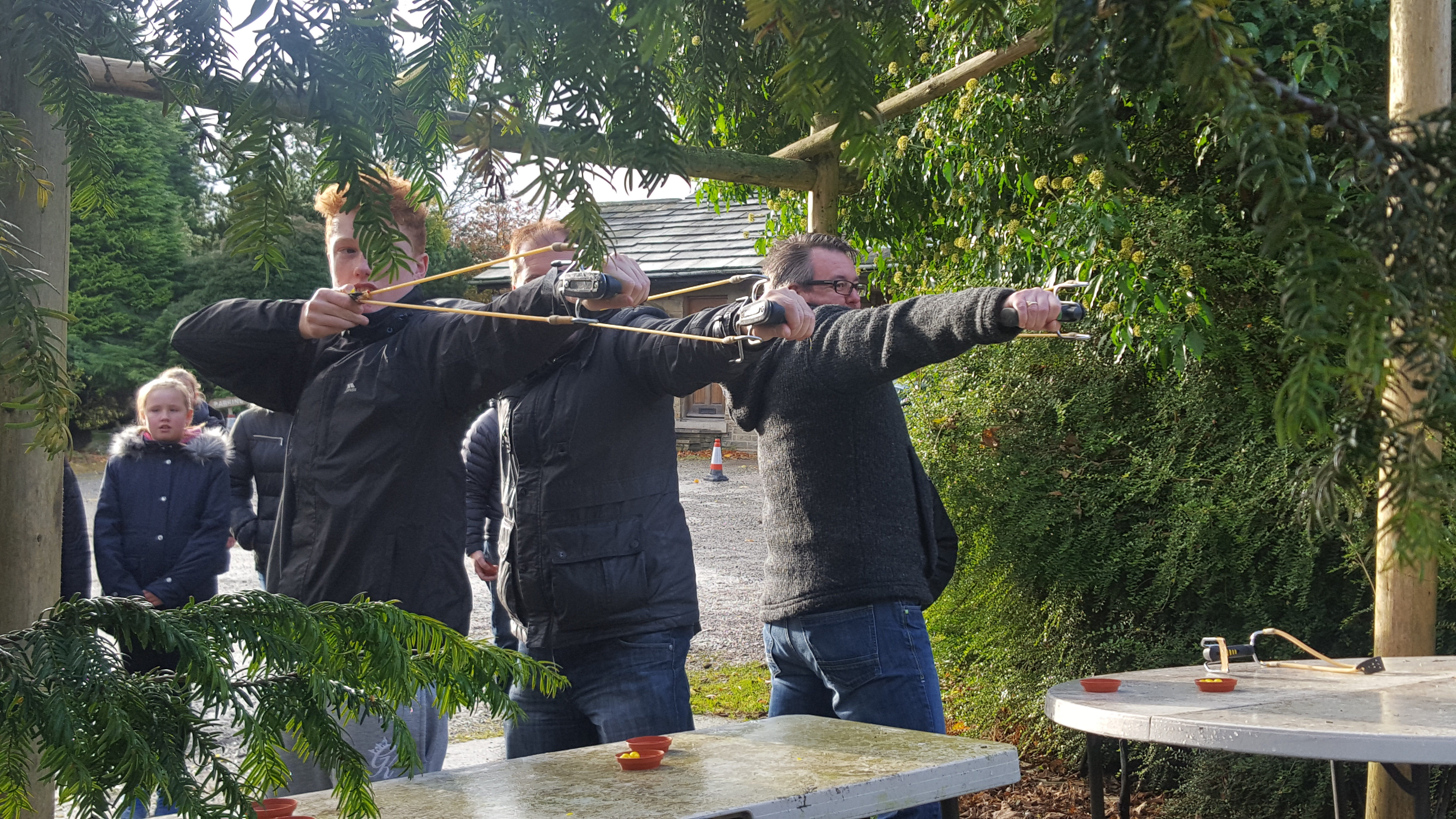 Slingshots with paintballs